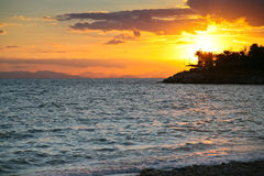 Sunset on Saronic Gulf (Athens,Greece) Royalty Free Stock Photography