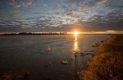 Sunset Saskatchewan. Slough pond reflection Canada Stock Photo