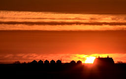 Sunset Saskatchewan Farm Royalty Free Stock Photography