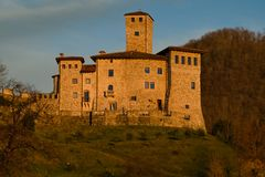 Sunset on the Savorgnan's Castle in Artegna. View of the Savorgnan Castle during the sunset in Artegna, Friuli, Italy royalty free stock photography