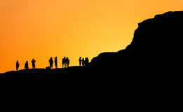 Sunset in Scala dei Turchi in Sicily Italy in fascinating silh Royalty Free Stock Photography