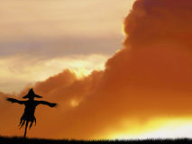 Sunset and scarecrow graphic Stock Photo