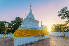 Sunset scence of White pagoda. At Wat Phra That Khao Noi, Nan Province, Thailand royalty free stock photography