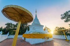 Sunset scence of White pagoda. At Wat Phra That Khao Noi, Nan Province, Thailand royalty free stock photos