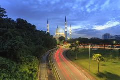 Sunset scene with architecture art of Shah Alam Mosque Stock Photo