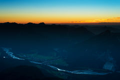 Sunset scene in austrian alps Stock Photography