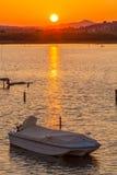 Sunset Scene with Boats, Corfu Stock Photography