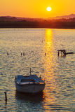 Sunset Scene with Boats, Corfu Royalty Free Stock Images