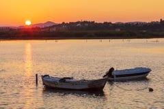 Sunset Scene with Boats, Corfu Stock Images