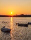 Sunset Scene with Boats, Corfu Stock Photo