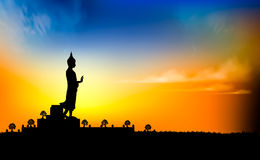 Sunset Scene. Buddha Statue In Silhouette Scene At Sunset  illustration Stock Image