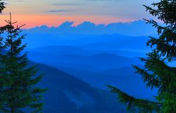 Sunset scene in Csarpathians Stock Photos