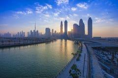 Sunset scene at Dubai city skyline. United Arab Emirates. DUBAI, UAE - SEPTEMBER 26 2018: sunset scene at Dubai city skyline. United Arab Emirates stock photos
