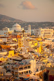 Sunset Scene in Fira, Santorini Stock Photography