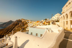 Sunset Scene in Fira, Santorini Royalty Free Stock Images