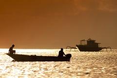 Sunset scene of  fisherman boat Stock Photography
