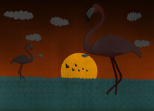 Sunset scene with Flamingo from recycled paper Royalty Free Stock Images