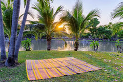 Sunset scene by the lake in Chatuchak park stock photography