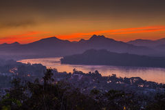 Sunset scene in Luang Prabang Royalty Free Stock Images