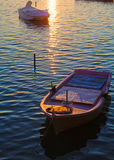 Sunset scene with nets and boat Royalty Free Stock Photo