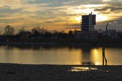 Sunset scene of a Rakitje lake Royalty Free Stock Image