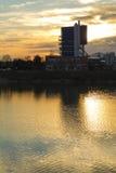 Sunset scene of a Rakitje lake Royalty Free Stock Photo