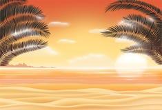 Sunset scene on sea sand beach with coconut tree leaf Royalty Free Stock Photo