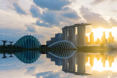 Sunset scene of the Singapore landmark financial district. Landscape of the Singapore landmark financial district at twilight sunset scene with blue sky and royalty free stock photos