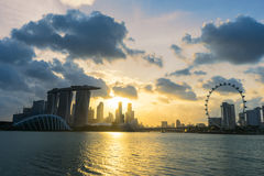 Sunset scene of the Singapore landmark financial district. Landscape of the Singapore landmark financial district at twilight sunset scene with blue sky and stock image