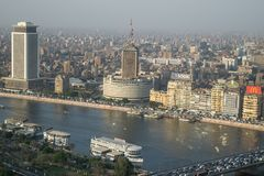 Sunset scene from the top of cairo tower in Egypt stock photography