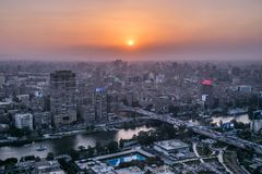 Sunset scene from the top of cairo tower Egypt royalty free stock images