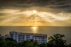 Sunset scene view at hotel resort Royalty Free Stock Image