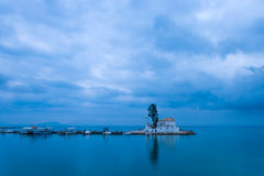 Sunset scene of Vlacherna monastery, Kanoni, Corfu Royalty Free Stock Photography