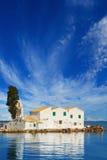Sunset scene of Vlacherna monastery, Kanoni, Corfu Stock Photos