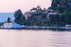 Sunset scene of Vlacherna monastery, Kanoni, Corfu Stock Photo