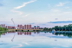 Sunset scenery of Bridge in horse head shape in Inner Hohhot, Mongolia stock image