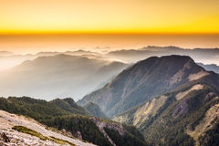 Sunset scenery. With the famous Yushan West Peak, Taiwan, Asia Stock Photo