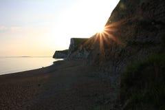 Sunset scenery at jurassic coast, UK Royalty Free Stock Images