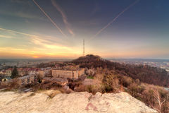 Sunset scenery of Lvov, view from height Stock Images