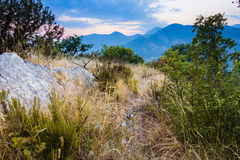 Sunset scenery of mountains and sea in Montenegro Royalty Free Stock Photography