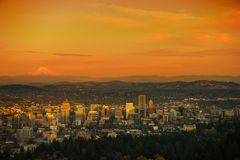 Sunset Scenery in Portland Royalty Free Stock Photography
