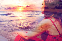Sunset scenery seacape. Double exposure,beach and woman.Travel and holidays abstract concept Stock Images