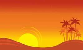At sunset scenery on seaside with palm silhouettes Royalty Free Stock Photo