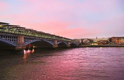 Sunset scenery of Thames river London United Kingdom stock images