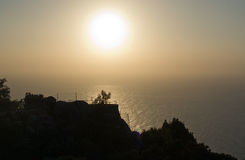 Sunset scenery. In west Mallorca, Balearic islands, Spain in July Stock Images