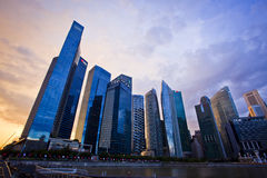 Sunset Scenes of Singapore downtown Stock Photos