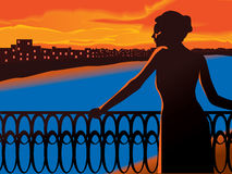 Sunset scenic. Vector illustration of a woman on a balcony and cityscape Royalty Free Stock Image