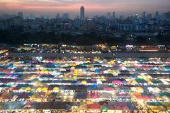 Sunset scenic of Aerial view of Bangkok night market. Stock Photography