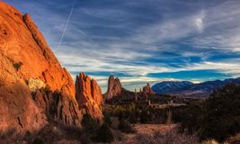 Sunset scenic at Garden of the Gods royalty free stock image