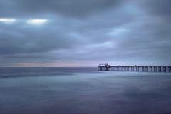 Side view of Scripps Pier after sunset at La Jolla, San Diego, California Royalty Free Stock Images